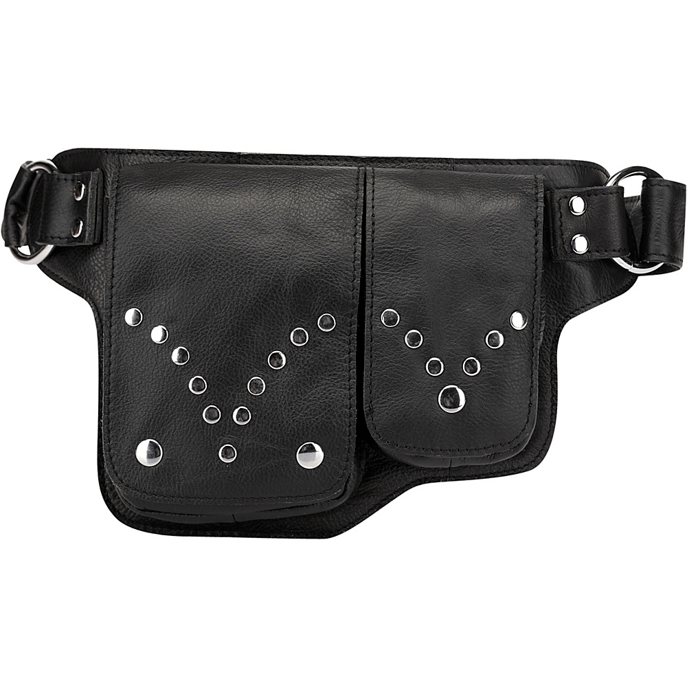 Vicenzo Leather Adonis S Leather Waist Bag Fanny Pack Black Vicenzo Leather Waist Packs