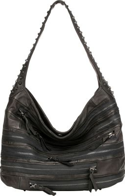 Vicenzo Leather Swagger Studded Hobo Jeans Leather Handbag Black - Vicenzo Leather Leather Handbags