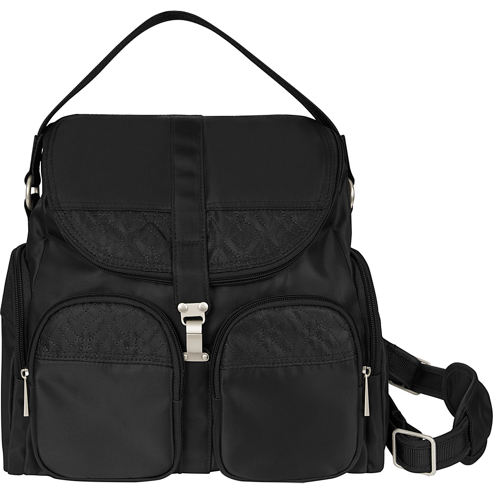Travelon Anti-Theft Signature Convertible Backpack Black/Gray - Travelon Fabric Handbags - Handbags, Fabric Handbags