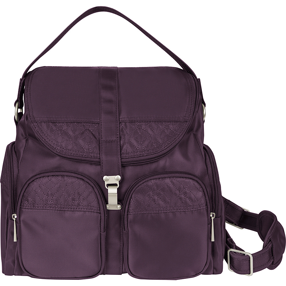 Travelon Anti Theft Signature Convertible Backpack Eggplant Gray Travelon Fabric Handbags