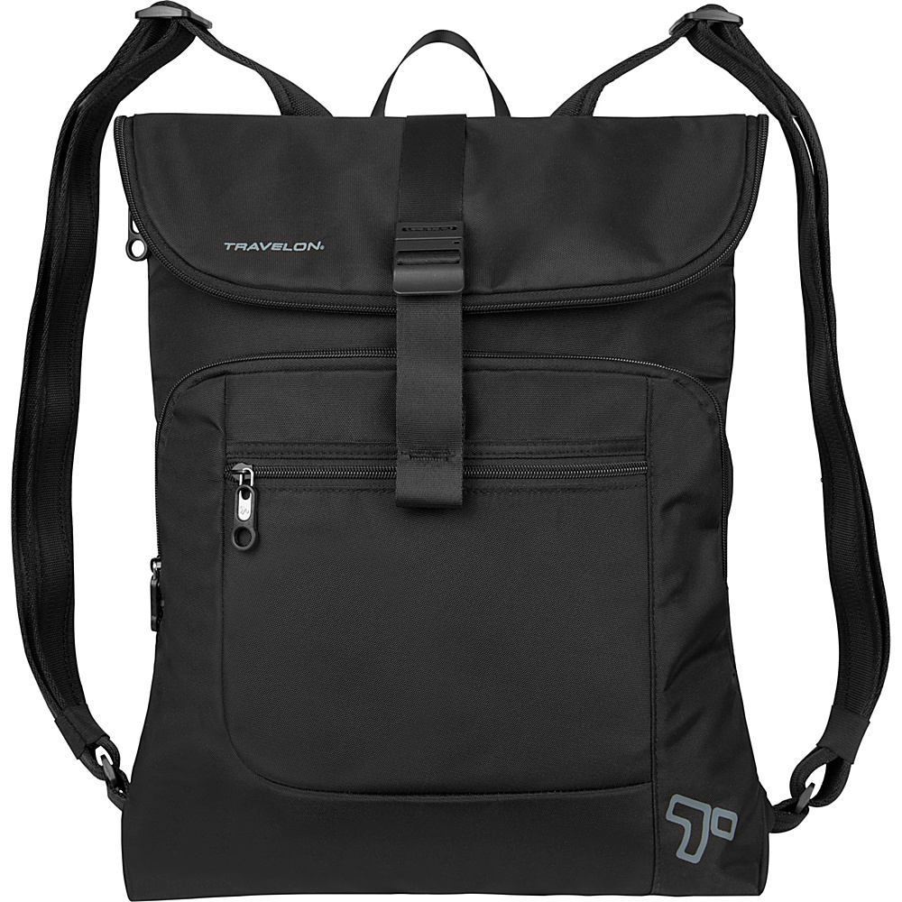 Travelon Anti-Theft Urban Flap-Over Backpack Black - Travelon Business & Laptop Backpacks