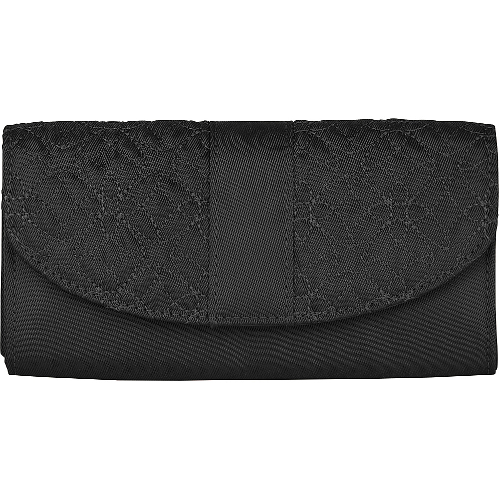 Travelon Signature Embroidered Envelope Style Wallet Black Travelon Women s Wallets