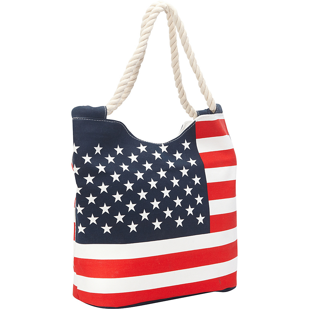 Ashley M Stars And Stripes Canvas Zippered Tote Bag Red/White - Ashley M Fabric Handbags