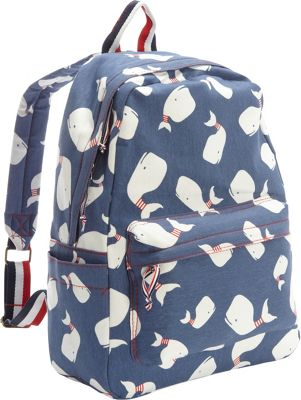 Ashley M Screen Printed Whales On Cotton Laptop Backpack Blue - Ashley M Business & Laptop Backpacks