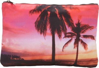 Ashley M Sunset By The Beach Scene Top Zip Clutch Multi - Ashley M Fabric Handbags