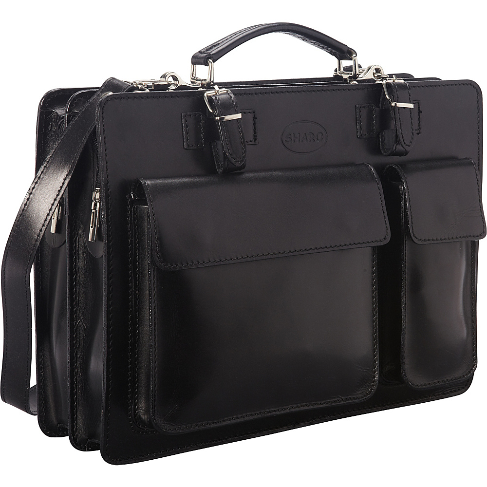 Sharo Leather Bags Italian Leather Computer Brief and Messenger Bag Black Sharo Leather Bags Non Wheeled Business Cases