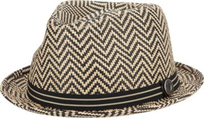 Ben Sherman Herringbone Straw Trilby Hat Brown-Large/Extra Large - Ben Sherman Hats/Gloves/Scarves