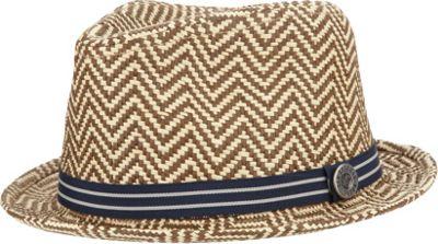 Ben Sherman Herringbone Straw Trilby Hat Natural-Small/Medium - Ben Sherman Hats
