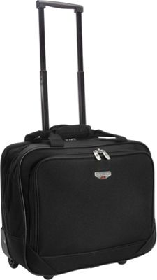 Travelers Club Luggage 17 inch Single-Section Rolling Briefcase Black - Travelers Club Luggage Wheeled Business Cases