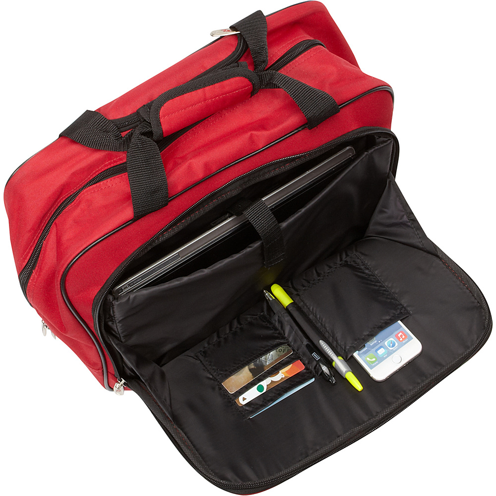 """Travelers Club Luggage 17"""" Single-Section Rolling Briefcase Red - Travelers Club Luggage Wheeled Business Cases"""