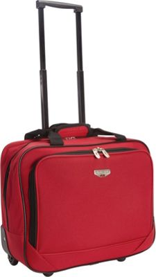 Travelers Club Luggage 17 inch Single-Section Rolling Briefcase Red - Travelers Club Luggage Wheeled Business Cases