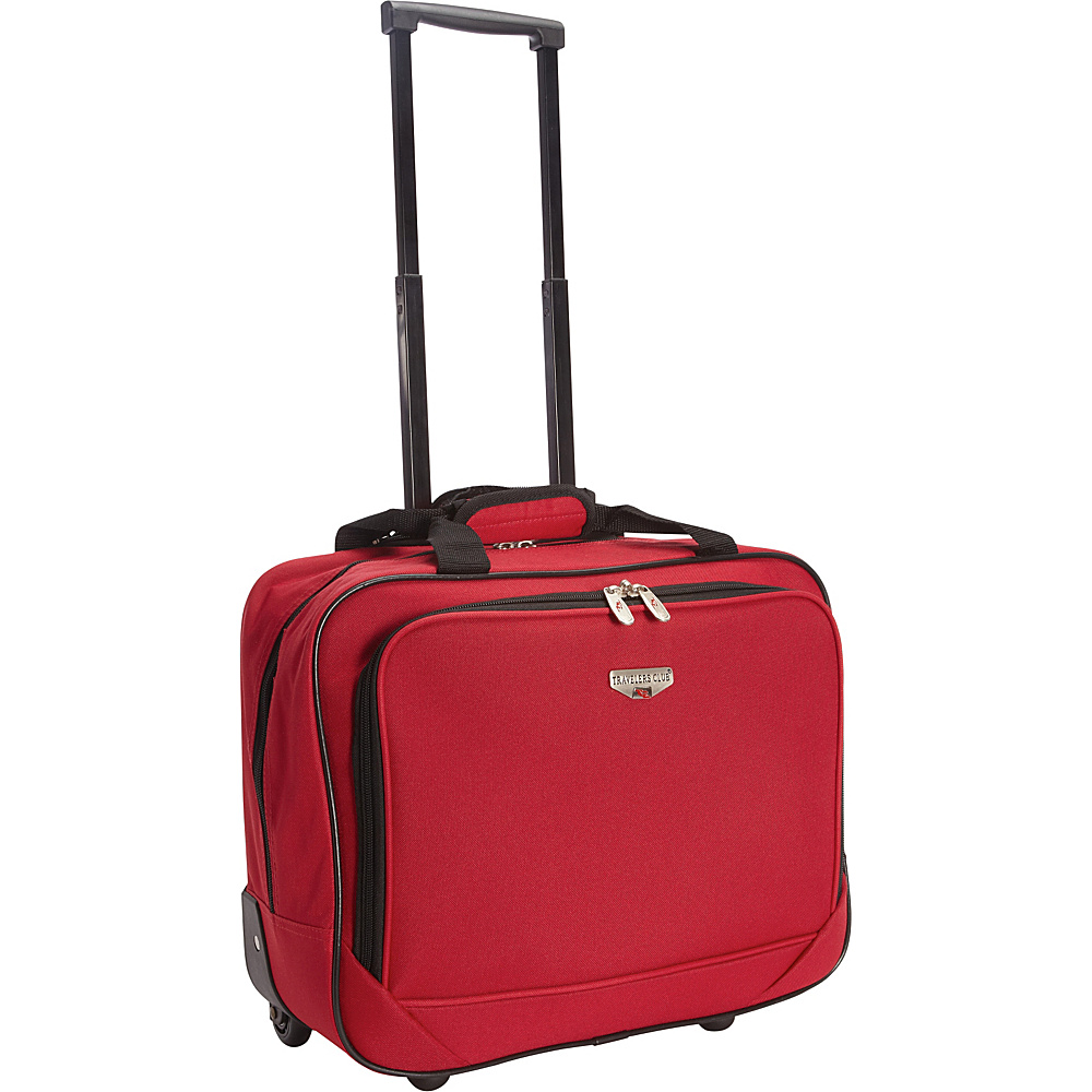 "Travelers Club Luggage 17"" Single-Section Rolling Briefcase Red - Travelers Club Luggage Wheeled Business Cases"