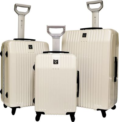 Travelers Club Luggage Jet set 2.0 3PC Hardside Luggage Set White - Travelers Club Luggage Luggage Sets