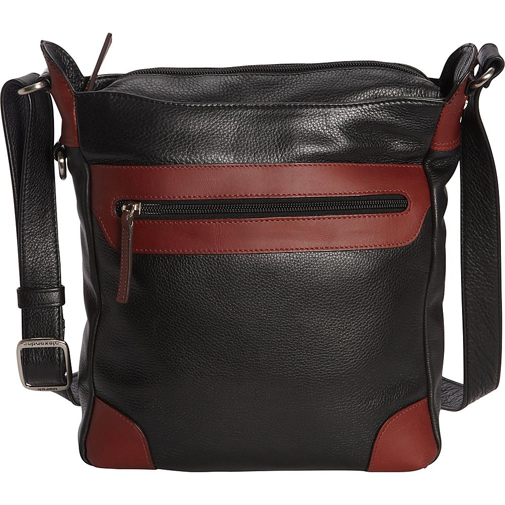 Derek Alexander NS Tablet Crossbody Black/Brandy - Derek Alexander Leather Handbags - Handbags, Leather Handbags