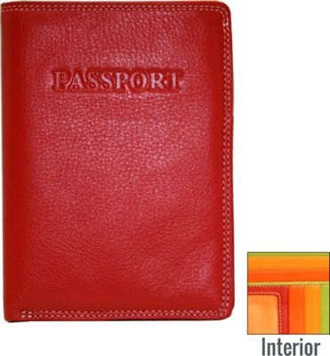 BelArno Leather Passport Wallet in Multi Color Combination Red Combination - BelArno Travel Wallets