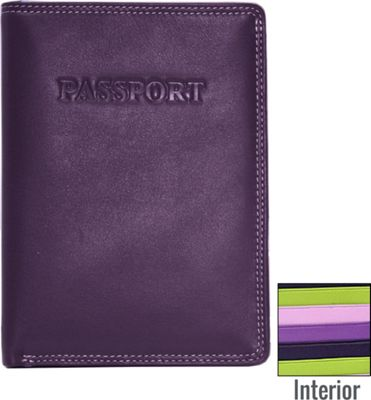 BelArno Leather Passport Wallet in Multi Color Combination Purple Combination - BelArno Travel Wallets