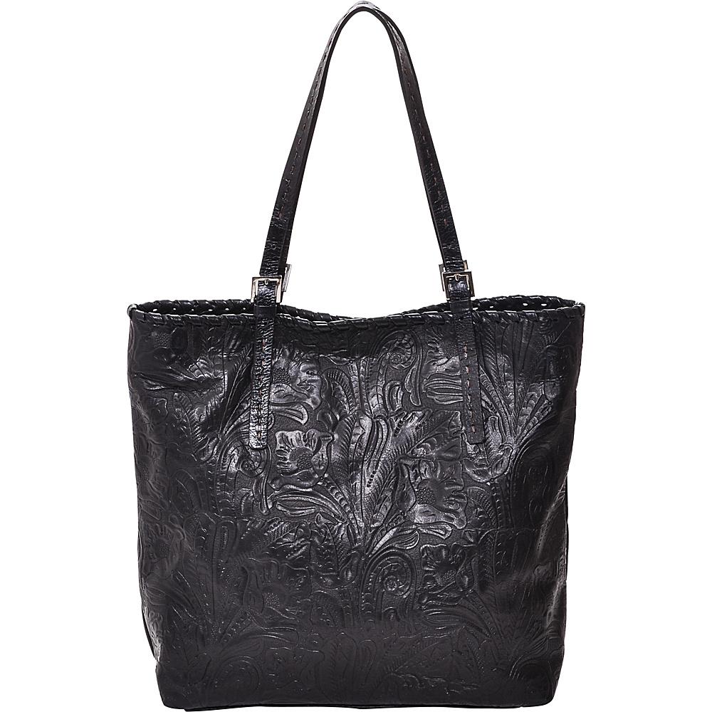 Carla Mancini Jess Tote Black Tooled - Carla Mancini Designer Handbags