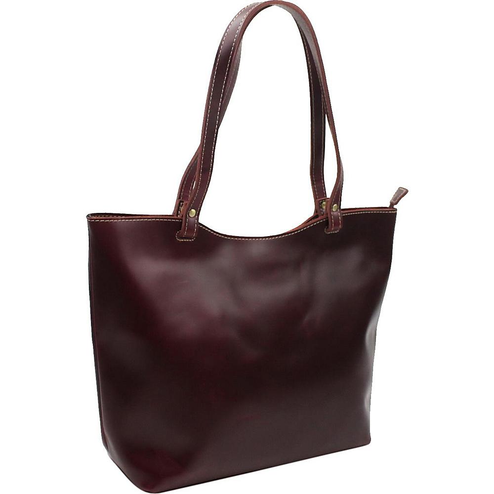 "Vagabond Traveler 16.5"" Large Leather Tote Wine Red - Vagabond Traveler Leather Handbags"
