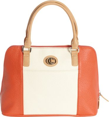 Aurielle-Carryland Vertical Color Block Large Satchel Poppy/Ivory - Aurielle-Carryland Manmade Handbags