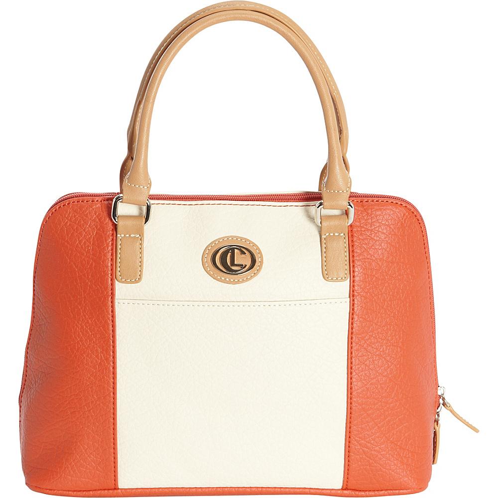 Aurielle Carryland Vertical Color Block Large Satchel Poppy Ivory Aurielle Carryland Manmade Handbags