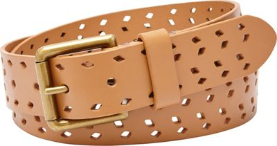 Fossil Diamond Perforated Belt Camel - Large - Fossil Belts