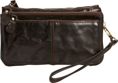 Journey Collection by Annette Ferber Verona Clutch Dark Chocolate - Journey Collection by Annette Ferber Leather Handbags
