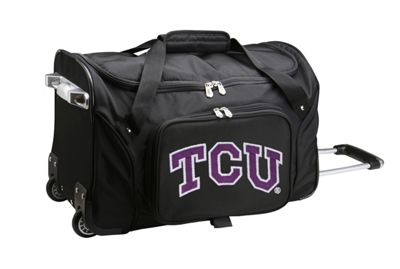 "Denco Sports Luggage NCAA 22"""" Rolling Duffel Texas Christian University Horned Frogs - Denco Sports Luggage Softside Carry-On"