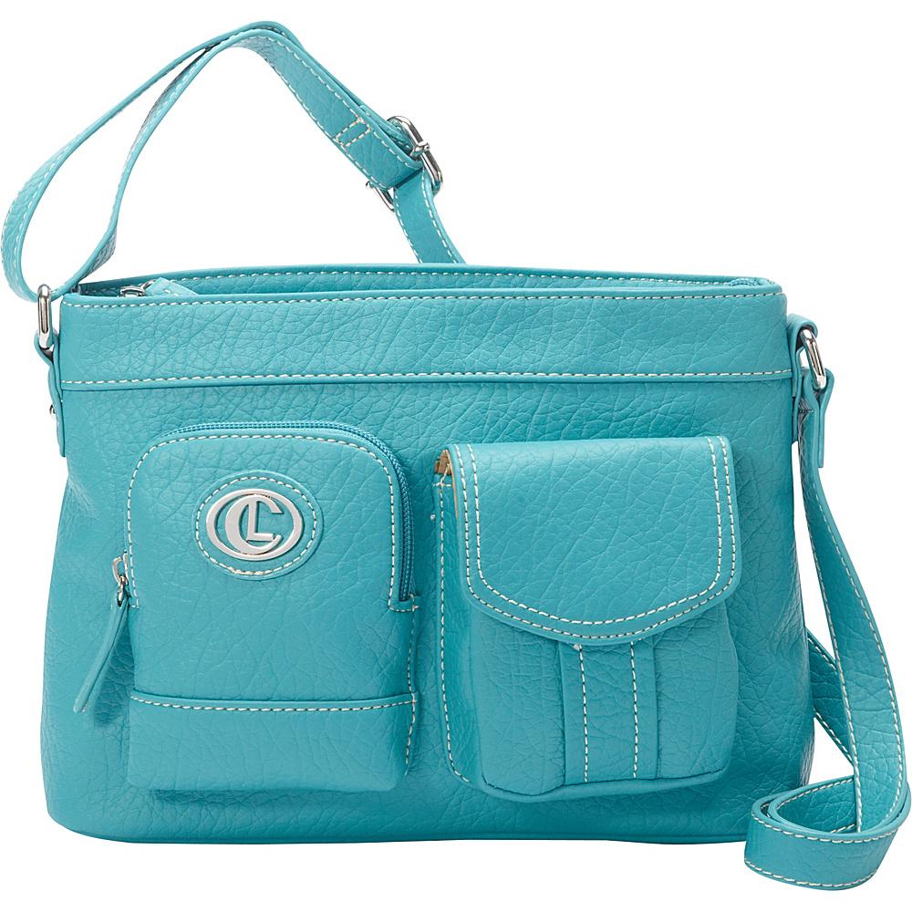 Aurielle Carryland E W Xbody Teal Aurielle Carryland Manmade Handbags