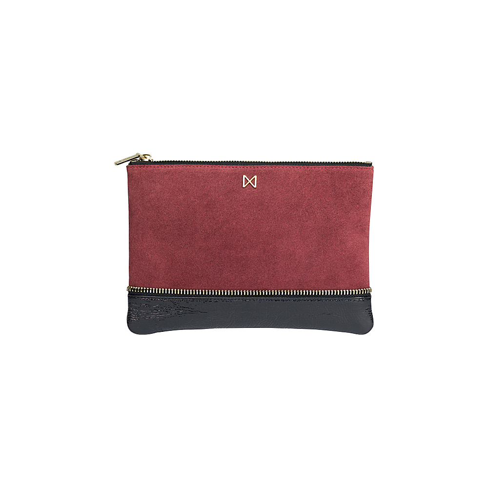 MOFE Sage Clutch Maroon Black Gold MOFE Leather Handbags