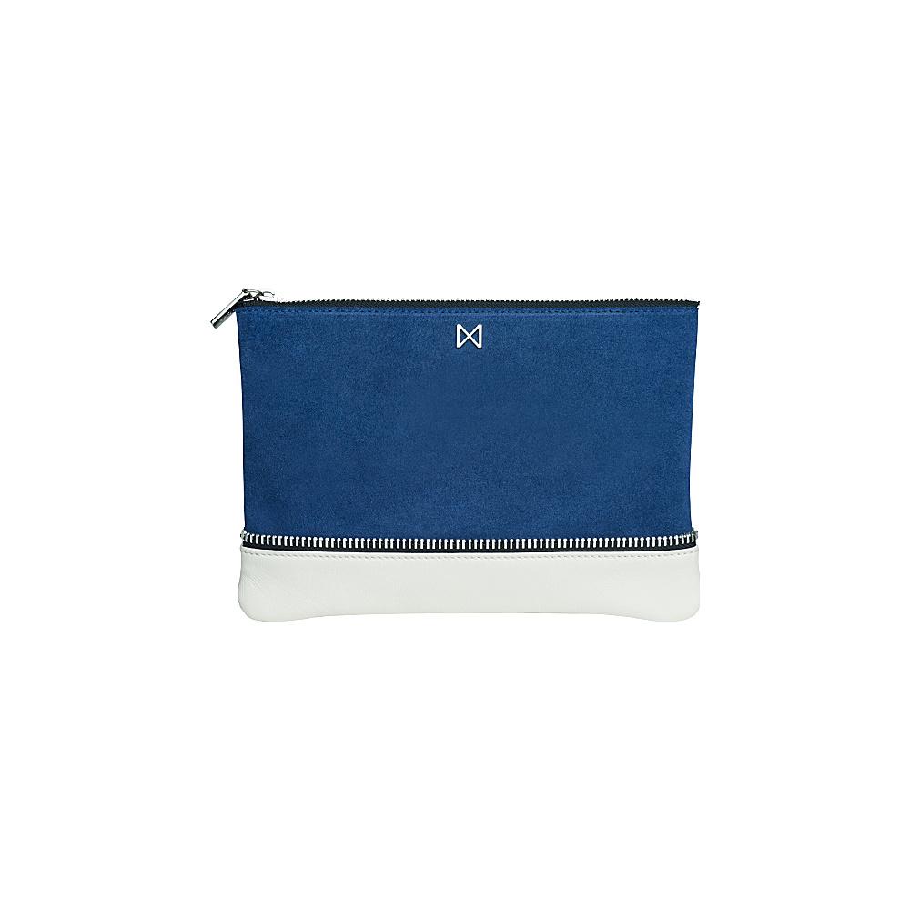 MOFE Sage Clutch Cobalt Blue Ivory Nickel MOFE Leather Handbags