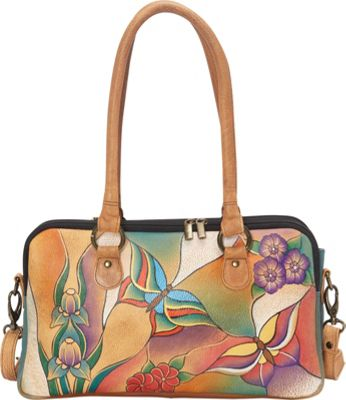 ANNA by Anuschka Large Multi Compartment Satchel Butterfly Glass Painting - ANNA by Anuschka Leather Handbags