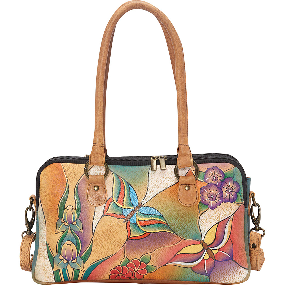 ANNA by Anuschka Large Multi Compartment Satchel Butterfly Glass Painting ANNA by Anuschka Leather Handbags