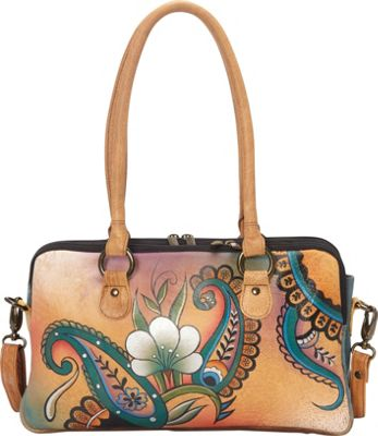 ANNA by Anuschka Large Multi Compartment Satchel Floral Paisley - ANNA by Anuschka Leather Handbags