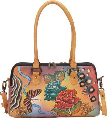 ANNA by Anuschka Large Multi Compartment Satchel Rose Safari - ANNA by Anuschka Leather Handbags