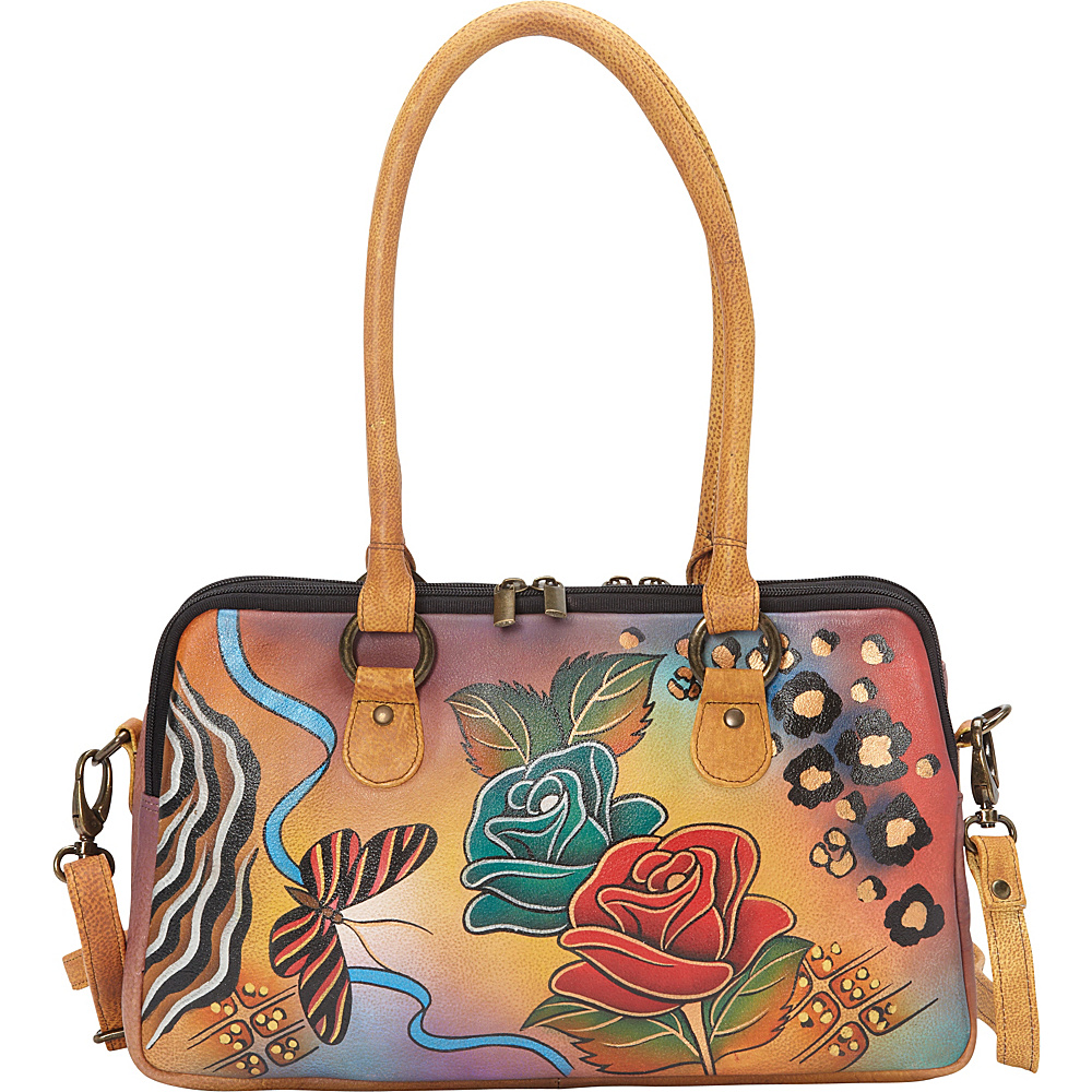 ANNA by Anuschka Large Multi Compartment Satchel Rose Safari - ANNA by Anuschka Leather Handbags