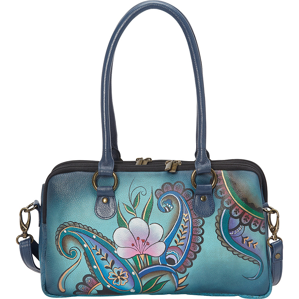 ANNA by Anuschka Large Multi Compartment Satchel Denim Paisley Floral ANNA by Anuschka Leather Handbags