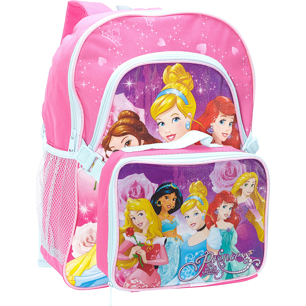Disney Princess Backpack with Lunch Kit Pink - Disney School & Day Hiking Backpacks