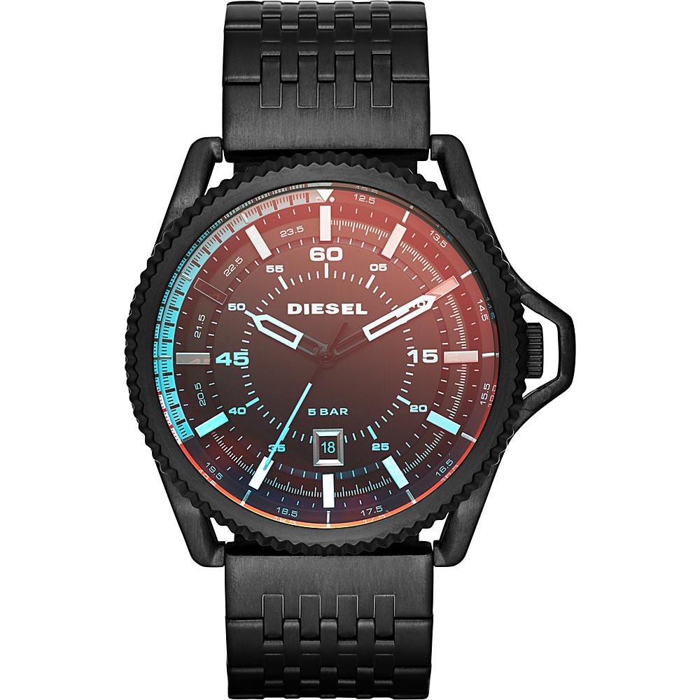 Diesel Watches Rollcage Three Hand Stainless Steel Watch Black Strap/Iradescent Crystal - Diesel Watches Watches