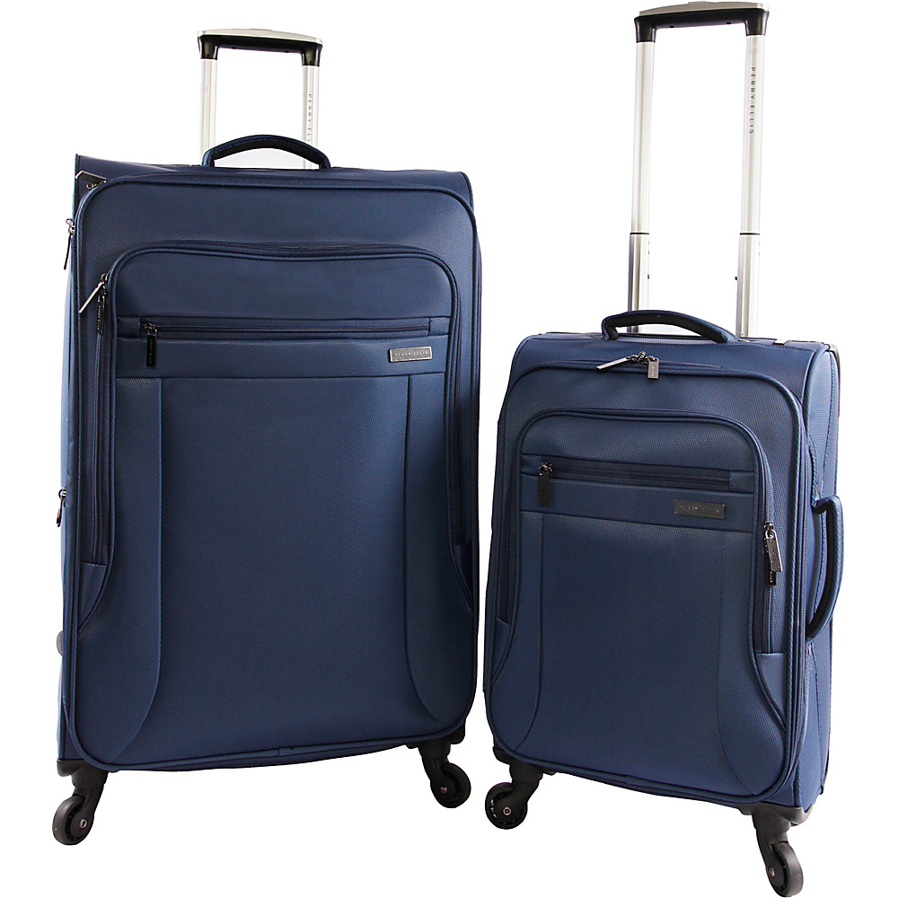 Perry Ellis Fortune Ultra Lightweight 2Pc Spinner Luggage Set Navy - Perry Ellis Luggage Sets