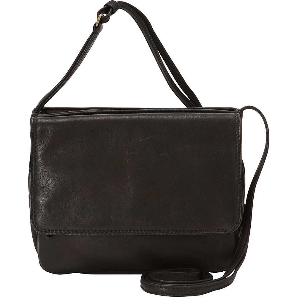 Derek Alexander Small 3/4 Flap Crossbody Bag Black - Derek Alexander Leather Handbags - Handbags, Leather Handbags