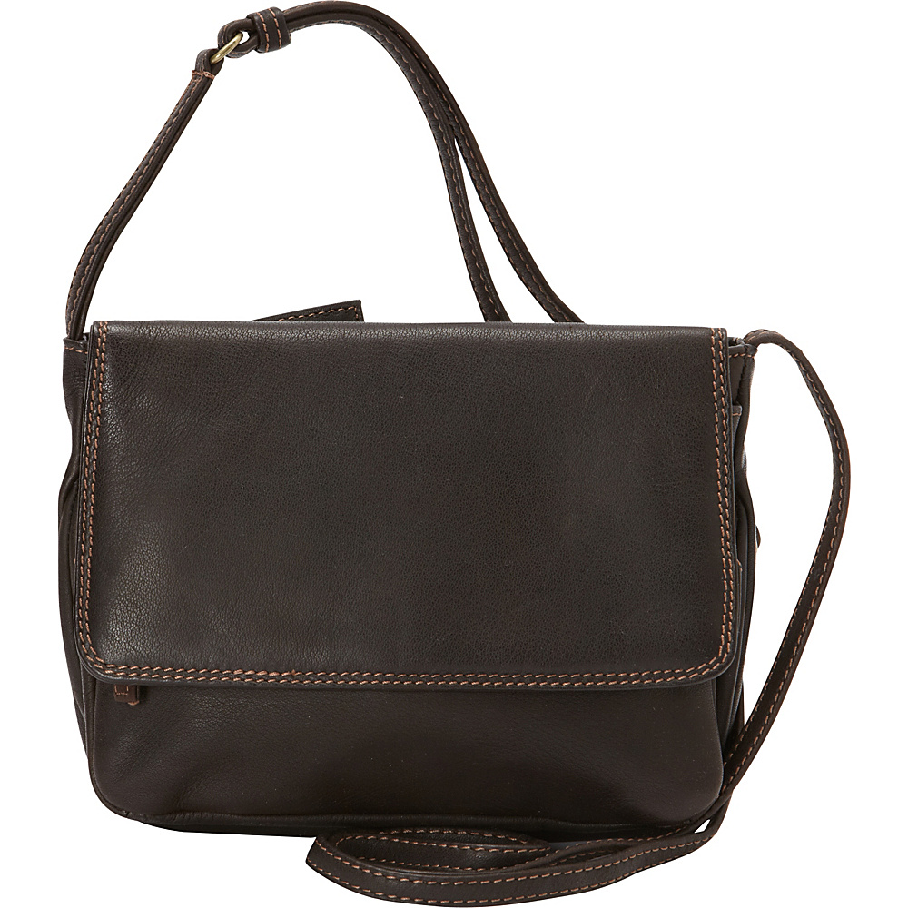 Derek Alexander Small 3/4 Flap Crossbody Bag Brown - Derek Alexander Leather Handbags - Handbags, Leather Handbags