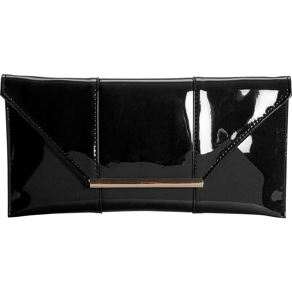 JNB Patent Clutch Black JNB Manmade Handbags