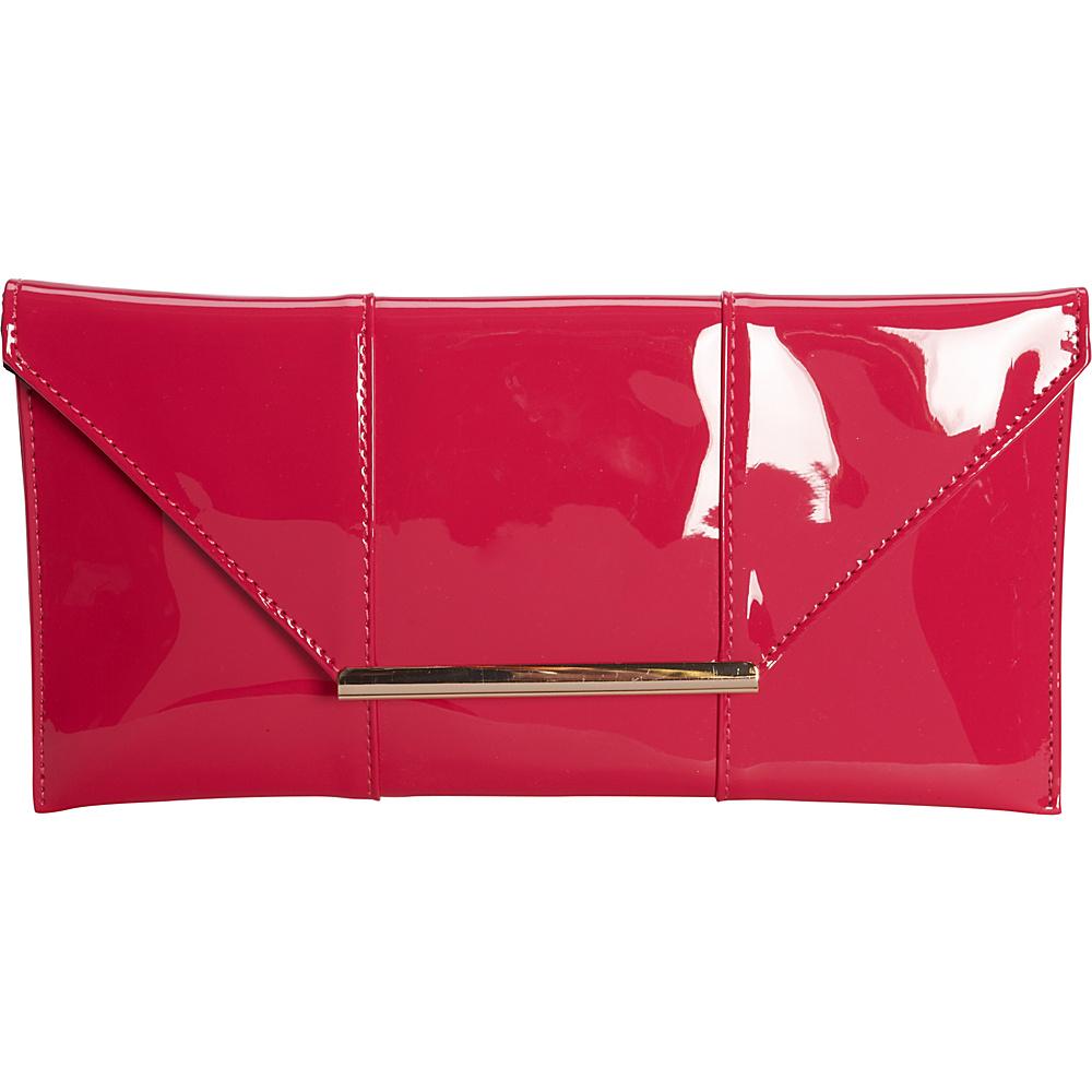 JNB Patent Clutch Fuchsia JNB Manmade Handbags