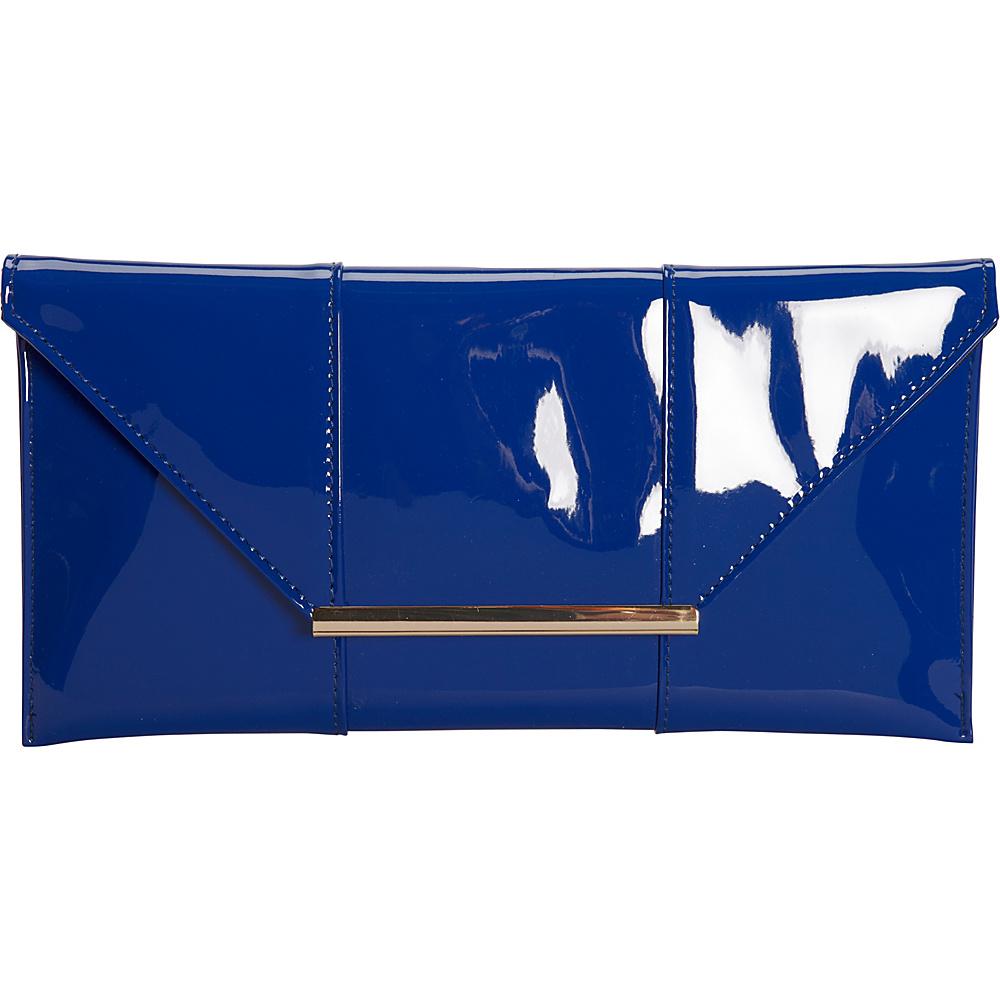 JNB Patent Clutch Royal Blue JNB Manmade Handbags