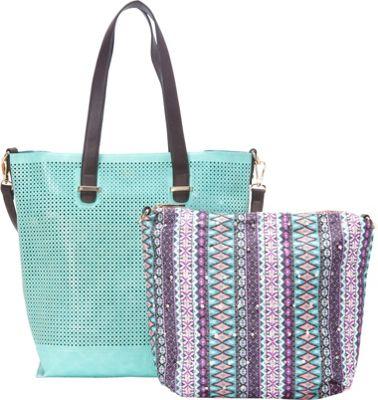 SW Global Hana Lasercut 2-in-1 Tote Bag Blue - SW Global Manmade Handbags