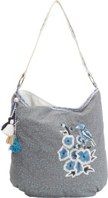 Scully Cotton Floral Print Shoulder Bag Blue - Scully Fabric Handbags