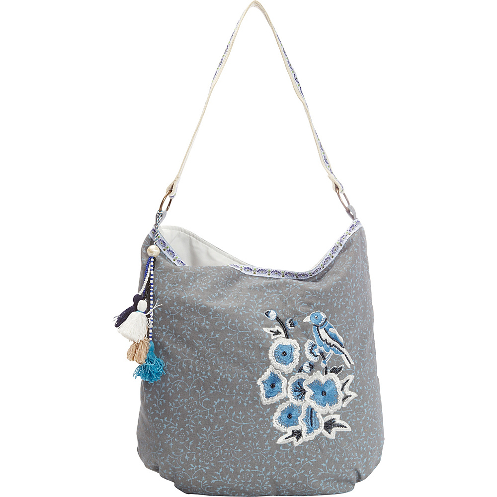 Scully Cotton Floral Print Shoulder Bag Blue Scully Fabric Handbags