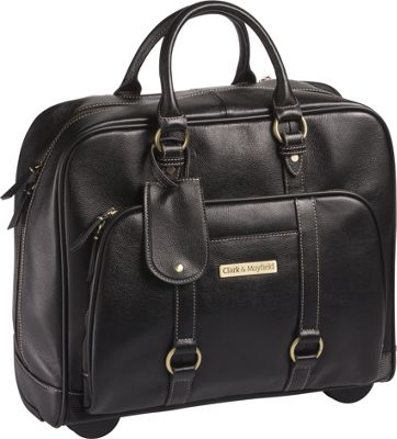 Clark & Mayfield Hawthorne Leather Rolling 17.3 inch Laptop Bag Black - Clark & Mayfield Wheeled Business Cases