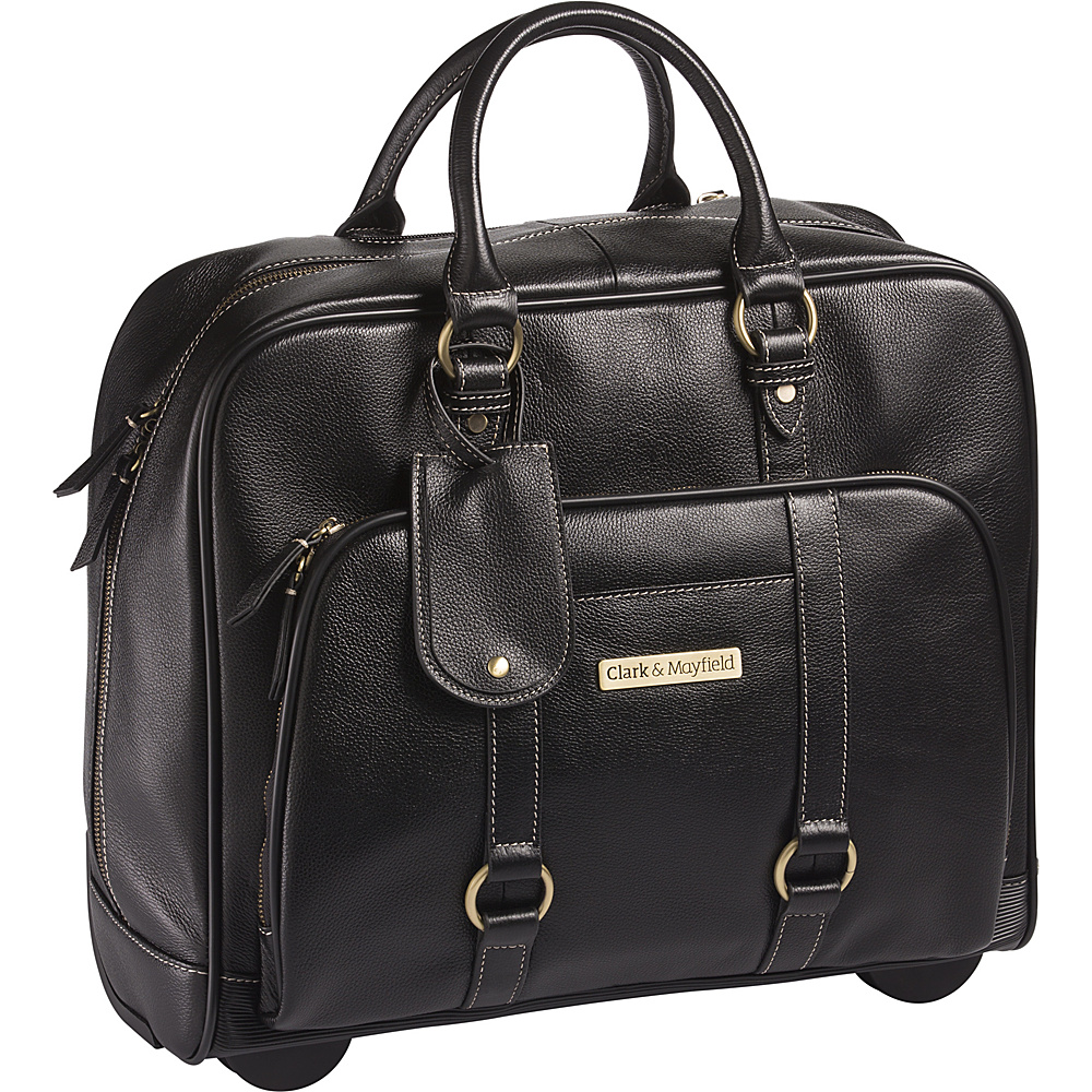 Clark Mayfield Hawthorne Leather Rolling 17.3 Laptop Bag Black Clark Mayfield Wheeled Business Cases