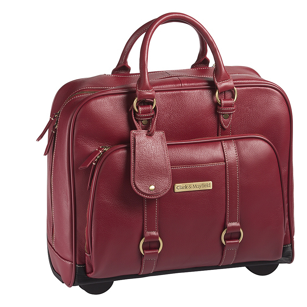 Clark Mayfield Hawthorne Leather Rolling 17.3 Laptop Bag Red Clark Mayfield Wheeled Business Cases